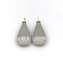 Christel van der Laan, Long Wide Earrings (grey), ceramic honeycomb, oxidised silver, 18ct gold, porcelain paint - $450
