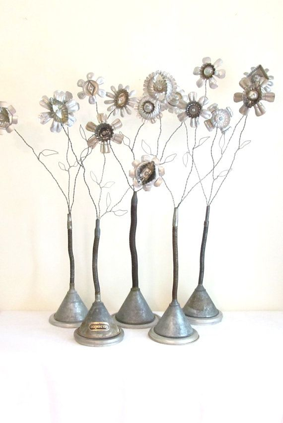 Industrial Art: Vintage Metal Collage Flower Bouquet Upcycled Using Gooseneck Funnel, Tin Kitchen Molds and Wire