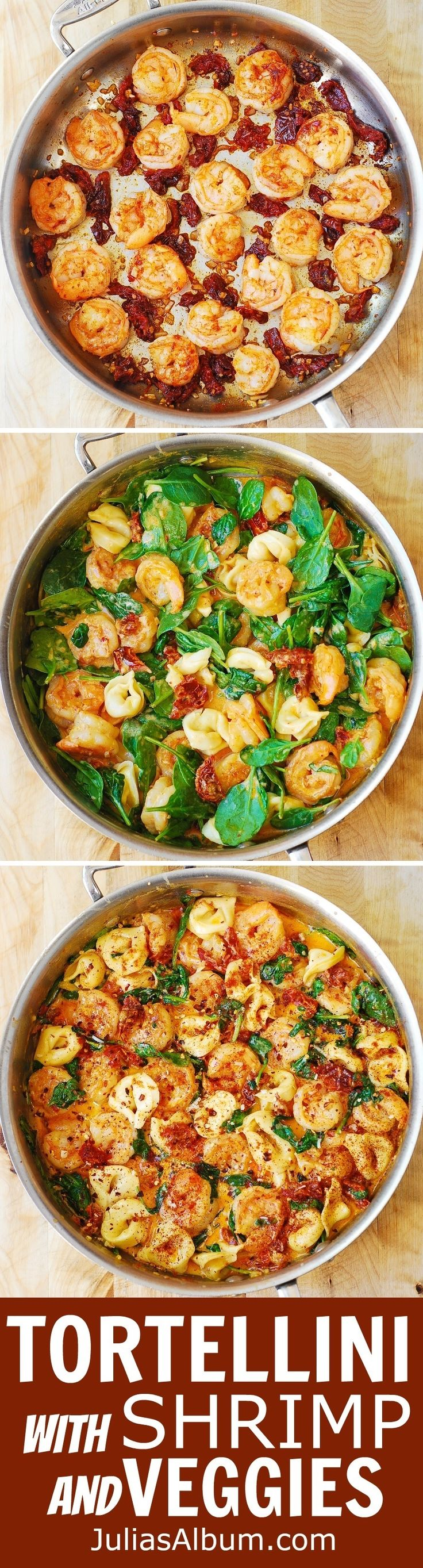 Creamy Tortellini with Shrimp and Veggies (pasta, dinner, vegetables)