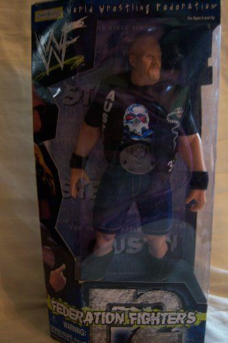 """Steve Austin Action Figure by Jakks Pacific, Inc.. $59.99. 12"""" Fully Poseable Wrestler. 14 points of articulation. Killer accessories!. World Wrestling Federation Collectable. Smokin' Skull Belt. These World Wrestling Federation collectable action figures are so very realistic they provide hours of pretend play for youngsters and oldsters alike."""