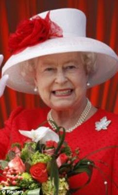 Her Majesty wearing her diamond maple leaf pin