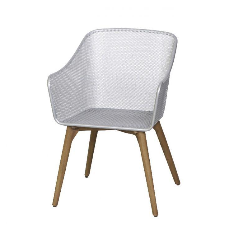 MBM Ohio Gartenstuhl mit Schmiedeeisen silber Sitzschale und Beinen aus Resysta