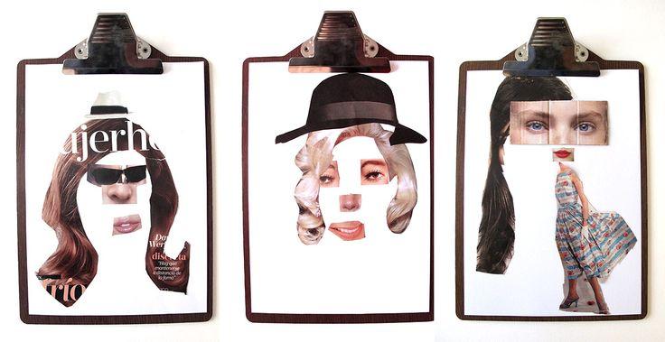 Caras hechas por niños con tecnicas de collage con revistas viejas | Blog www.micasaencualquierparte.com