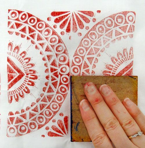 How to Block Print with Lino onto Fabric? Some really great advices