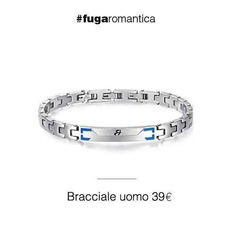 Bracciale in acciaio con smalto blu sulla piastra centrale Luca Barra Gioielli. #bracciale #acciaio #lucabarragioielli #tendenzemodauomo #style