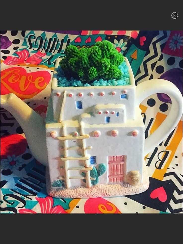 One Of A Kind Succulent Garden With Cactus In Teapot Southwestern Planter  | eBay