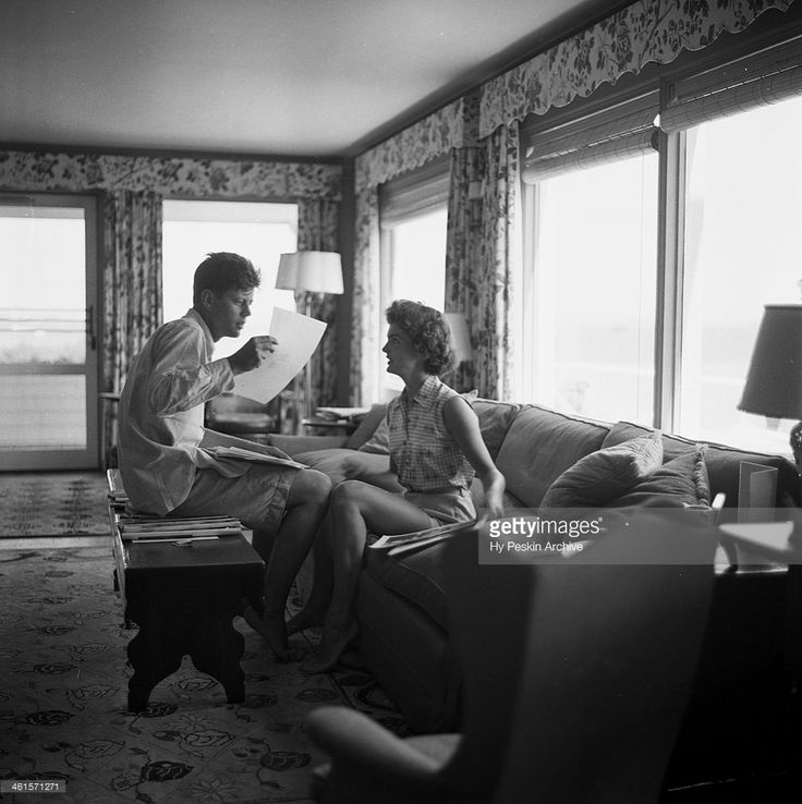 Senator John F. Kennedy and fiance Jacqueline Bouvier on vacation at the Kennedy compound in June 1953 in Hyannis Port, Massachusetts.