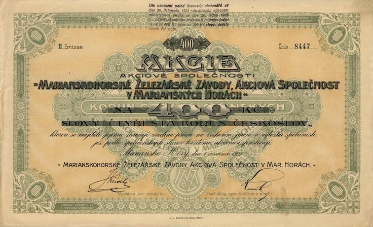 Marianskohorské železářské závody, akc. spol. v Marianských Horách (Marienberger Eisenwerke AG.). Akcie na 400 Kč. Mariánské Hory (Ostrava), 1921.