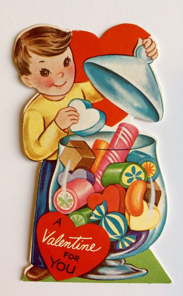 Vintage Die Cut Valentine Card Boy Apothecary Jar Colorful Candy Heart Pink Cute