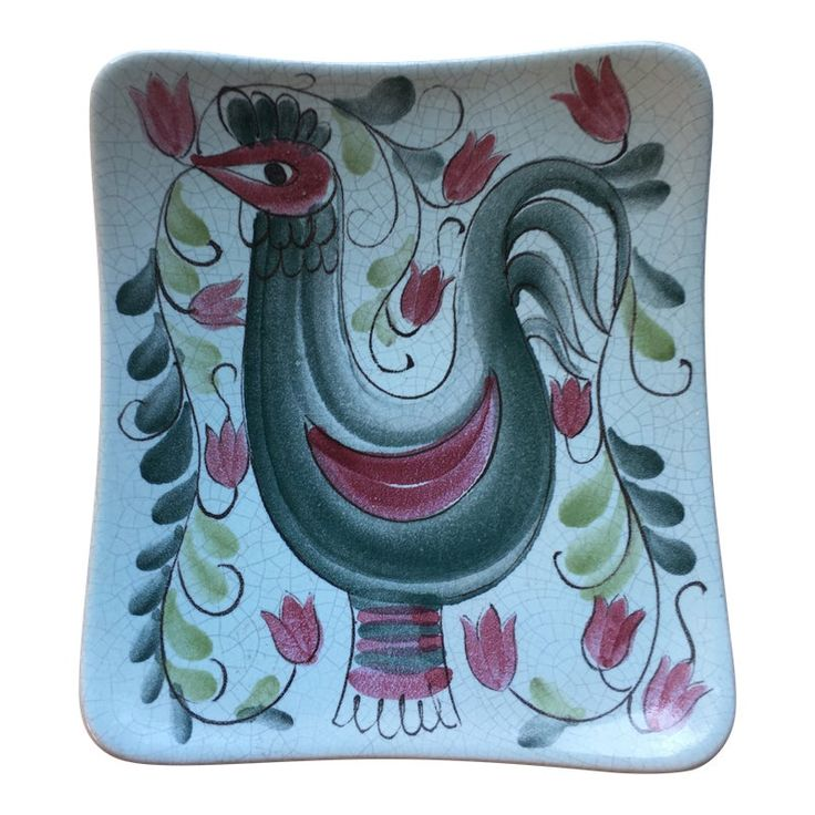 Hand Painted Arabia Rooster Plaque