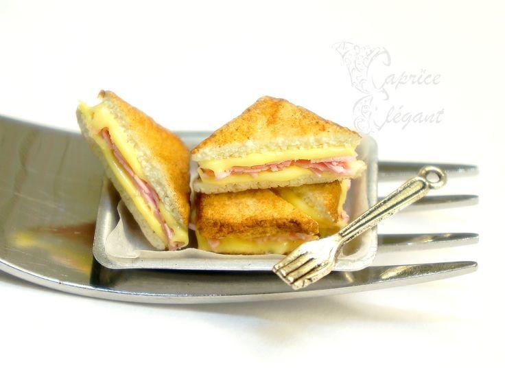 Miniature Food Croque Monsieur en pâte polymère par Tania Villard Hirsig