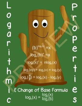 I created this lesson to have students create the logarithmic properties by starting with the conversion between logarithmic form and exponential form.  Properties of equality are used to derive the properties.  Each property and the change of base formula have their own set of problems.