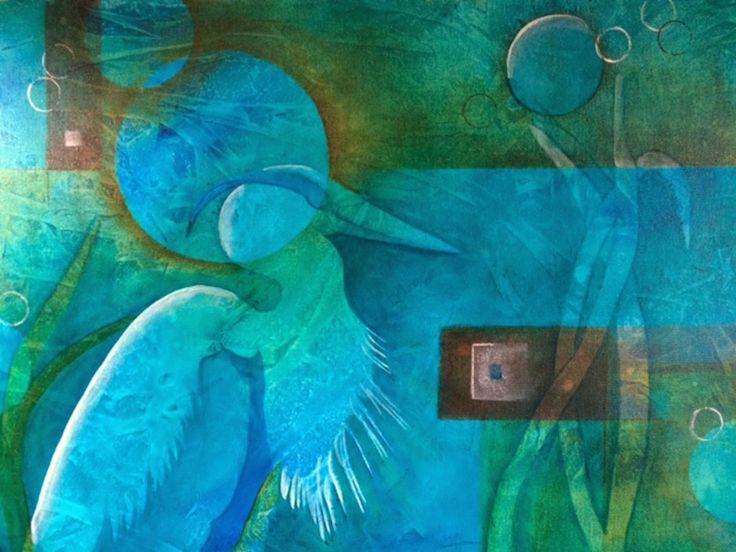 "Original art by Kim McLennan  ""The Explorer"" 18 x 24  Acrylic on Canvas"