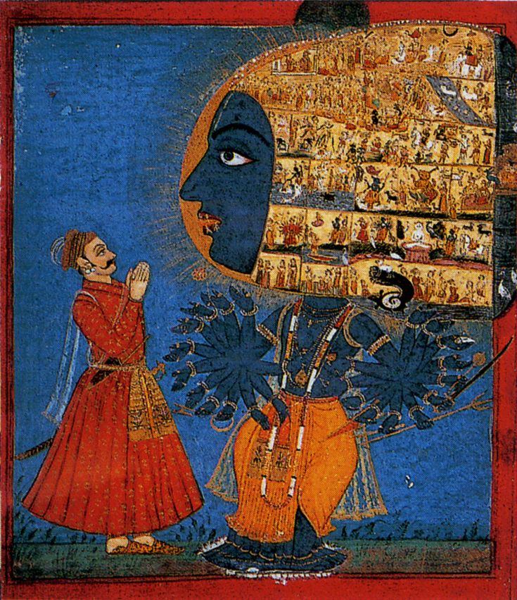 Vishnu Vishvarupa  miniature du XVIIIè siècle, Inde.----------------.an iconographical form and theophany of the Hindu god Vishnu or his avatar Krishna. Vishvarupa has innumerable forms, eyes, faces, mouths, bellies and arms. All creatures of the world are part of him. He is the infinite universe, without a beginning or an end. He contains peaceful as well as wrathful forms.