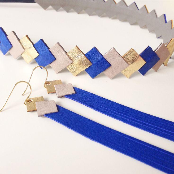 """Head-band en cuir """"graphique""""  coloris Or-Muscade-bleu cobalt monté sur élastique accessoire cheveux pour femme"""