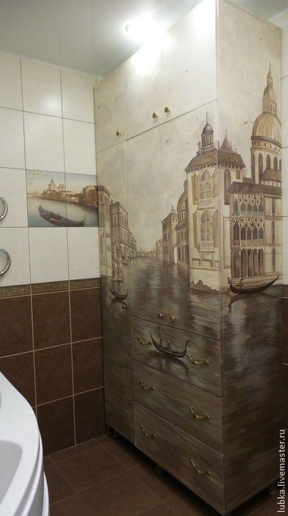 Декор поверхностей ручной работы. Ярмарка Мастеров - ручная работа. Купить Роспись шкафа в ванной. Handmade. Коричневый, роспись в ванной