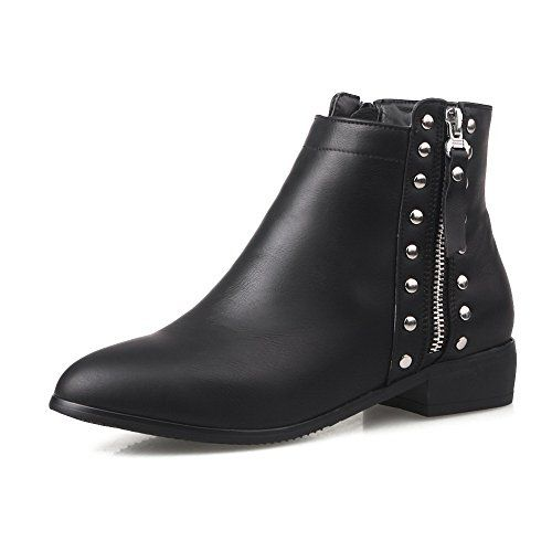 Women's Low-Heels Round Closed Toe Pu Low-Top Solid Zipper Boots Black-Metal Nail 39