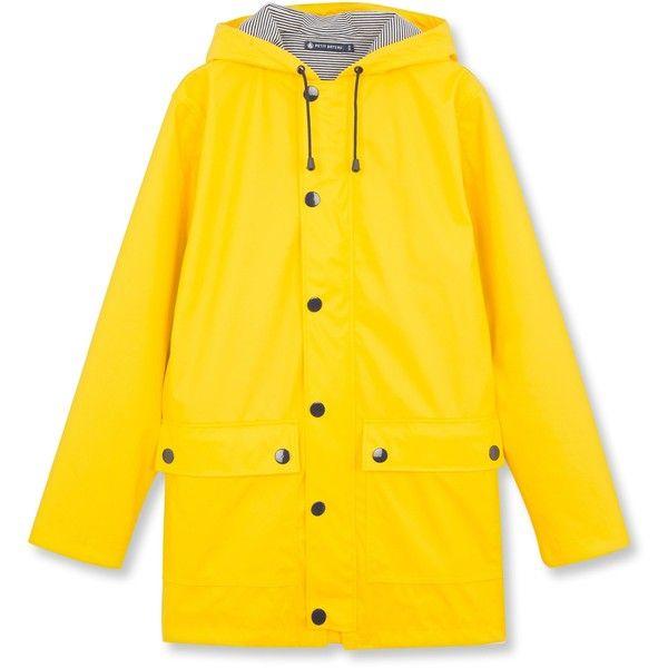 Iconic women's raincoat (225 CAD) ❤ liked on Polyvore featuring outerwear, coats, mac coat, rain coat, yellow coat, yellow raincoat and yellow rain coats