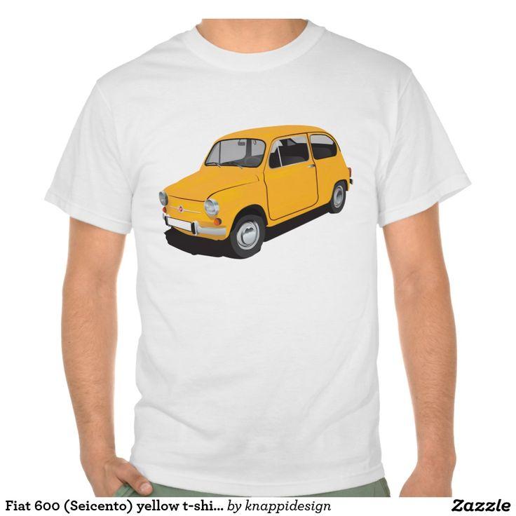 Fiat 600 (Seicento) yellow t-shirt  #fiat #fiat600 #seicento #tshirt #tshirts #tpaita #troja #skjorta #italy #automobile #bilar #auto #classic #vintage