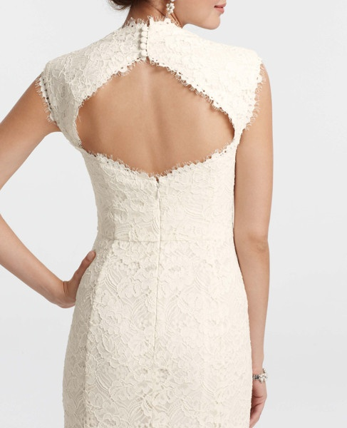 Ann Taylor - back Weddings Petites - Petite Re-Embroidered Lace Gown
