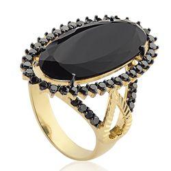 Anel Ouro Amarelo Diamantes Negros e Quartzo Negro Charlotte
