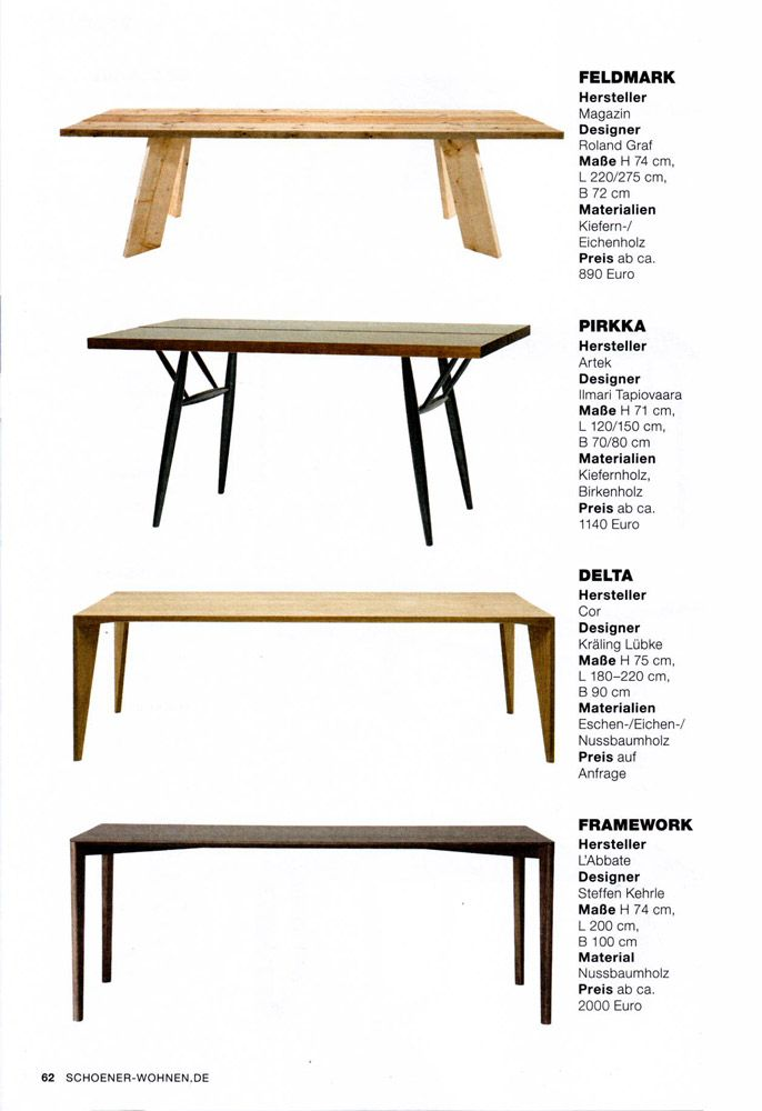 L'Abbate Italia: BEST OF DESIGN 2016/17 - SCHOENER WOHNEN. Framework table > Design Steffen Kehrle.