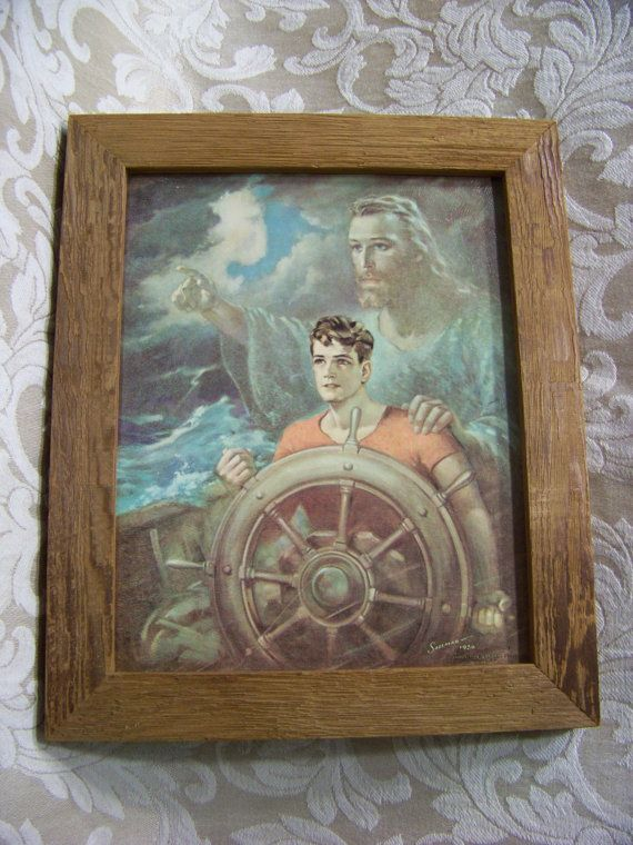 Vintage Sallman Framed Photo Sailor W Jesus Guiding Him