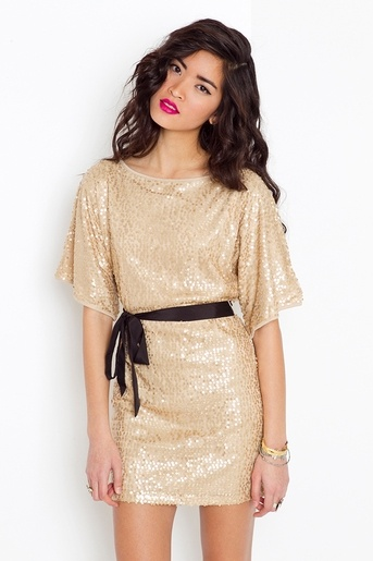simple and cute for the holidays...gold sequin dress