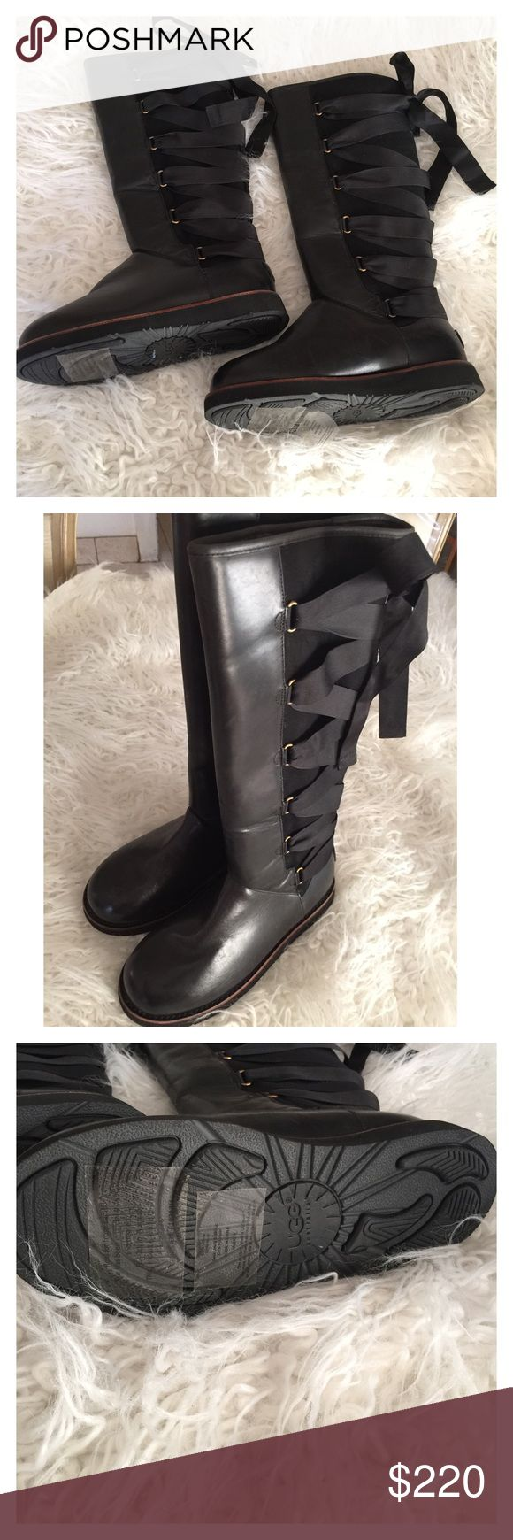 Hunter Boots These are fabulous, leather and sheep skin with a chic ribbon on the back. Must have this season. No box Hunter Boots Shoes Lace Up Boots