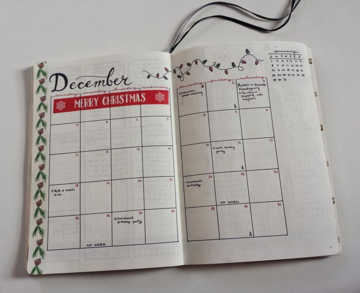 My December Bullet Journal monthly layout calendar view is chocked full of Christmas spirit! I love all the Christmas washi tape I got to use this month. You can check out all of my monthly spreads on my blog! #bulletjournal #bujo
