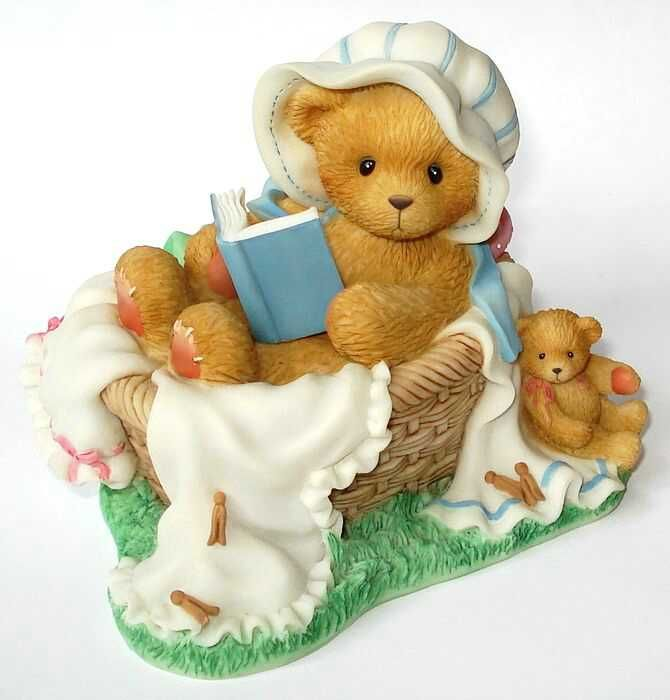 Heidi´s Cherished Teddies Galerie: ALEXIS - Syndicated Catalog Exclusive - CurlingUp With A Good Book Is My Favorite Pastime (681113)