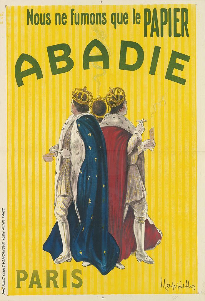papier à cigarettes - Nous ne fumons que le papier Abadie - 1911 - illustration de Leonetto Cappiello - Paris, France -