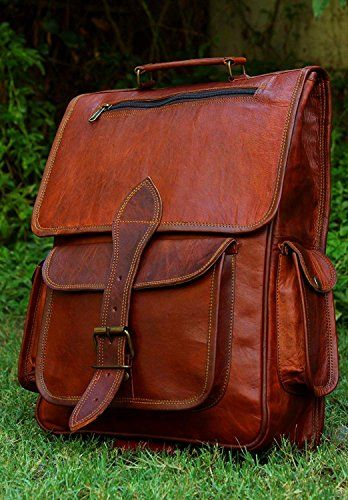 6ea71eb41362 New cuero 16 Inch Genuine Leather Retro Rucksack Backpack College ...