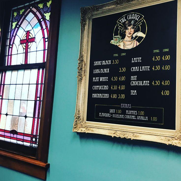 The Chapel Cafe coffee menu.