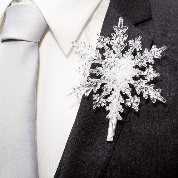 Crystal Snowflake Boutonniere - Winter Wedding - Winter Wonderland Wedding…