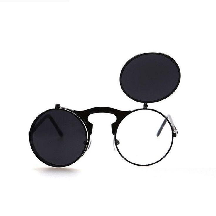 Retro Metallic Punk Steam Flip Sonnenbrille Flip Sonnenbrille Männer und Frauen Hipster Sonnenbrillen,EIN,Der gesamte Code