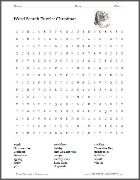 Christmas Word Search Puzzle, Grades 5-8