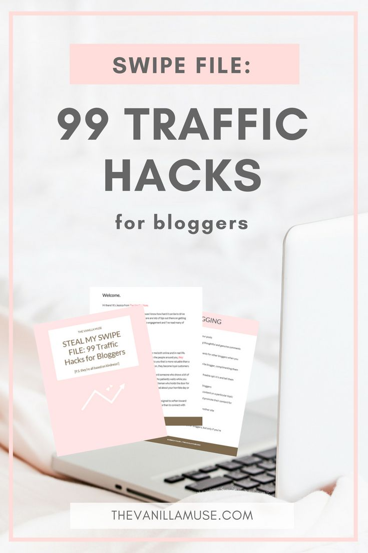 Are you struggling to get traffic to your blog? No matter what you try, the numbers just stay the same? You NEED this free swipe file of traffic hacks! Get out of your blogging rut with these simple and easy to implement traffic tips for bloggers.