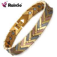 Rainso Health Magnetic Bracelet Bangle For Women 2017 Hot Sale Stainless Steel Bio Energy Bracelet Gold Fashion Jewelry