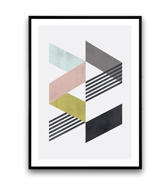 Chevron dimpression, affiche géométrique, art minimaliste, aquarelle abstraite, art pariétal Chevron, design scandinave, décoration moderne, tendance