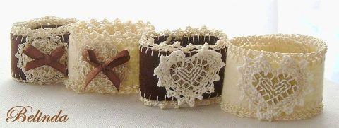 I kiss her hand - embroidered, crochet, felt bracelet, Bel..., meska.hu