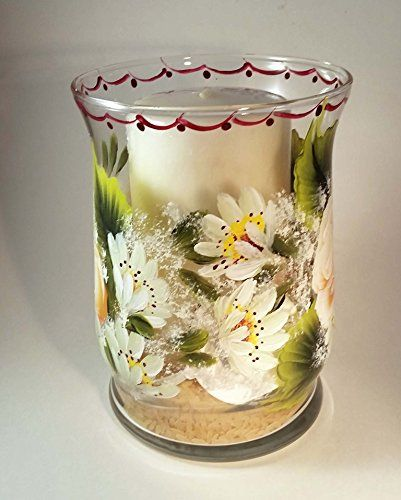 Hand Painted Tropicana Roses and Shasta Daisies Pillar Candle Holder ** Read more at the image link.