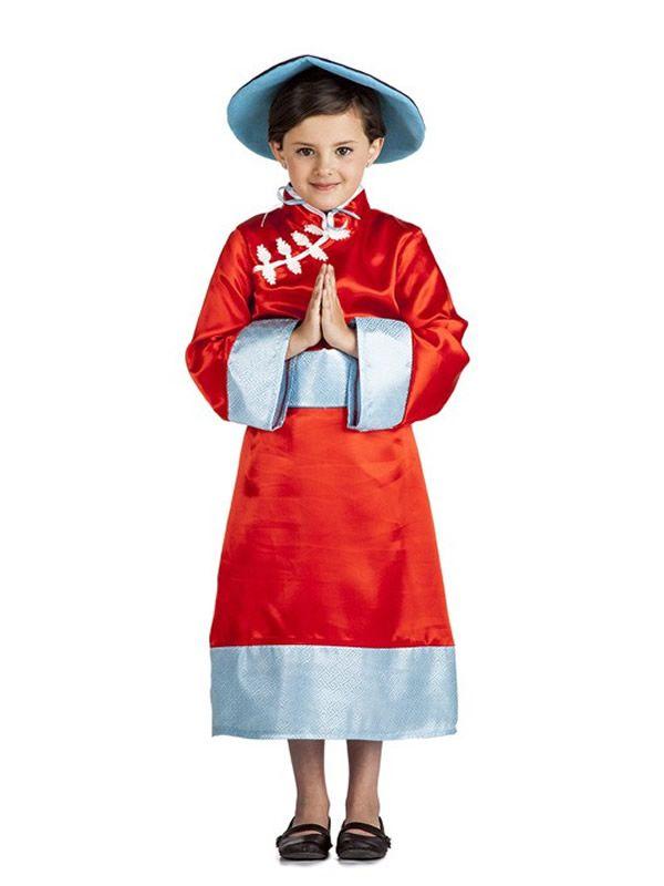 El disfraz de china oriental niña, incluye Vestido, fajín y sombrero. en DisfracesMimo.com