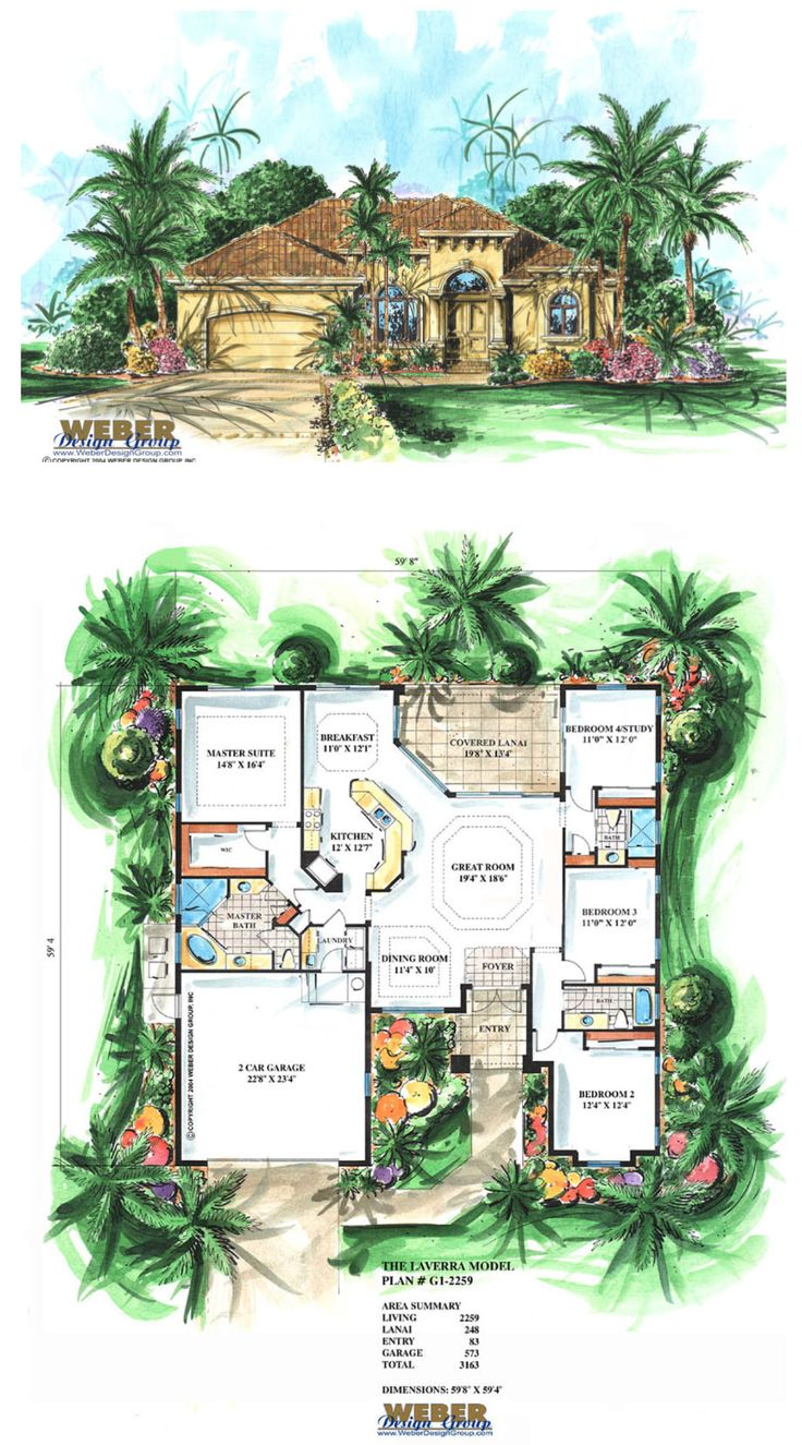 G1-2259 - Mediterranean house plan, 1 story Laverra offers 2,259 square feet of living space and 3,163 total square feet.  Includes 4 bedrooms, 3 full baths and a two car garage.