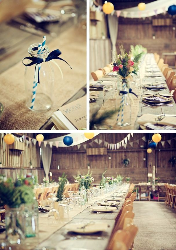 More rustic detail at a beautiful Barn at South Milton Wedding in Devon old fashioned striped straws, milk bottles, hessian and lace runners, village hall chairs.jpg