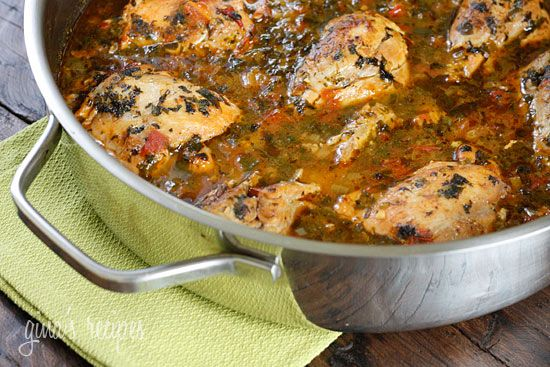 Sofrito Chicken Stew: this is the perfect weeknight meal! It took 30 min to throw this, a box of Goya Mexican rice, and break-and-bake chocolate chip cookies together! I just served it over the rice and topped it with some sliced avocado and chopped cilantro. It's delicious and the leftovers pack up wonderfully for lunch the next day!