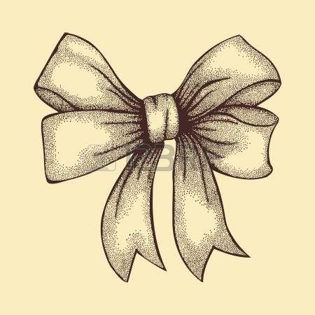 noeud ruban dessin: Belle ruban noué dans un dessin à main levée arc à la plume…