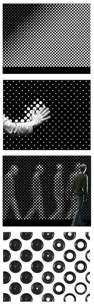 Designed by Berlin interactive artists Gunnar Green and Frederic Eyl, Aperture includes dozens of tiny aperture holes that (with a slight delay) open if there is no light and closes if there is. The result is the silhouette of passersby.     It is a facade installation with interactive and narrative displaying modes.