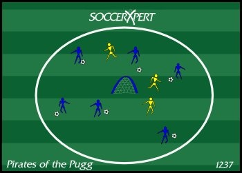 I just picked up some Pugg Goals, and I am going to break them in today at practice with this drill. It looks like a fun game to work on dribbling, offense and defense.