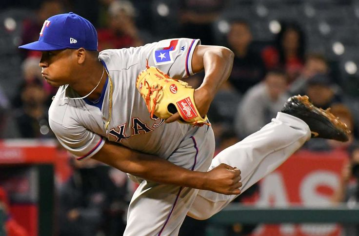 10 MLB Rookies To Watch Right Now  -  April 20, 2017:    Jose Leclerc, RHP, Rangers  -        Apr 12, 2017; Anaheim, CA, USA; Texas Rangers relief pitcher Jose Leclerc (62) in the ninth inning of the game against the Los Angeles Angels at Angel Stadium of Anaheim. Rangers won 8-3. Mandatory Credit: Jayne Kamin-Oncea-USA TODAY Sports